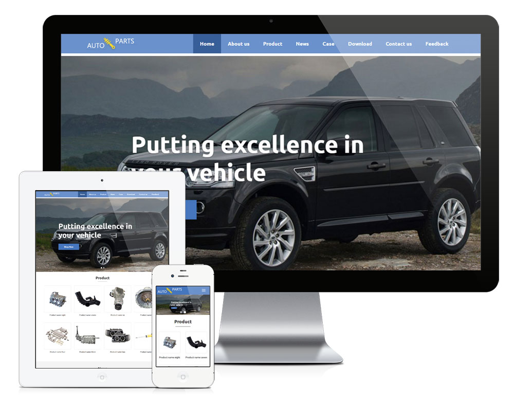 eyoucms汽车配件外贸响应式英文易优网站模板